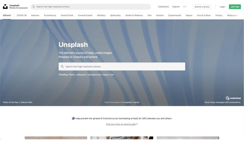 Unsplashのサイト画面