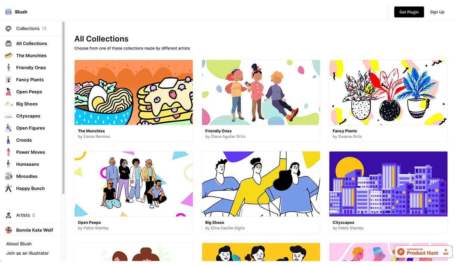Blushのサイト画面