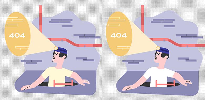 404エラーのイラスト画像