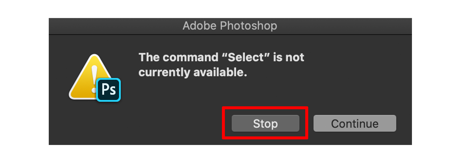 Photoshopのポップアップウィンドウ