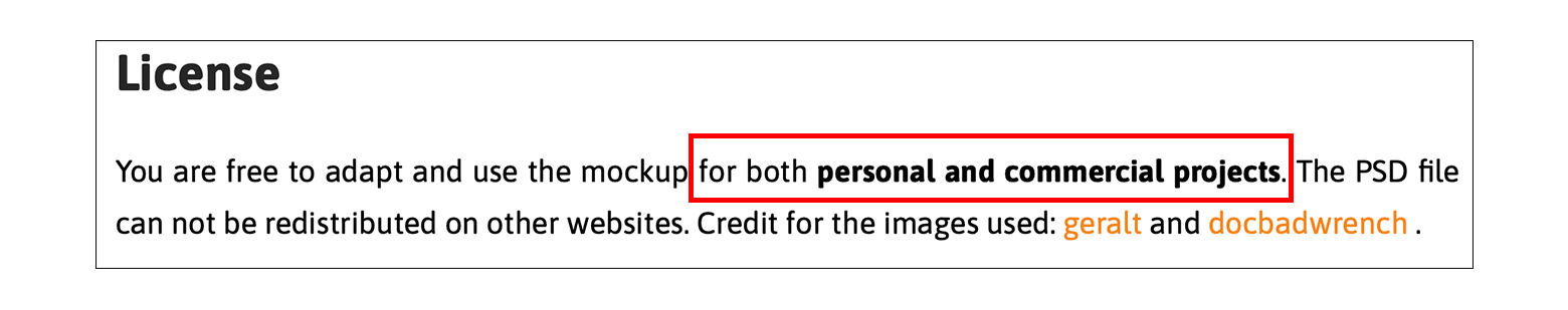 配布サイトのライセンス画像